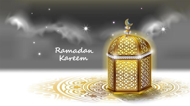 Diseño de ramadán kareem con mezquita y tarjeta de felicitación de luz de luna
