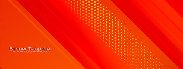Diseño de rayas abstractas vector de banner de color rojo geométrico