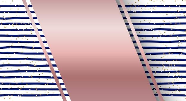 Diseño de rayas azules abstractas y fondo dorado brillo