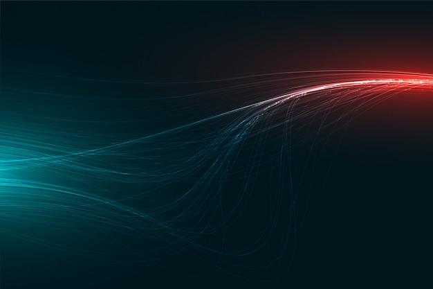 Diseño de rayas de luz abstracta de tecnología digital