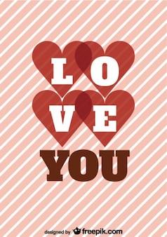 Diseño de rayas retro tarjeta de mensaje de amor