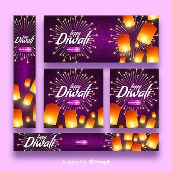 Diseño realista de banners web de diwali
