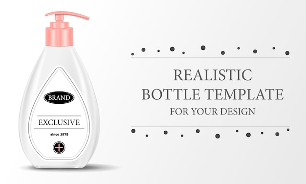 Diseño realista de una botella dispensadora de plástico blanco para su diseño en un fondo aislado con texto, ilustración
