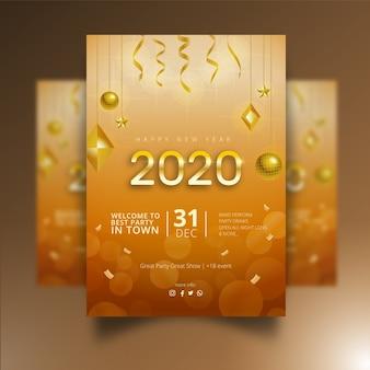 Diseño realista de carteles de año nuevo 2020