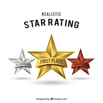 Diseño realista de clasificación por estrellas