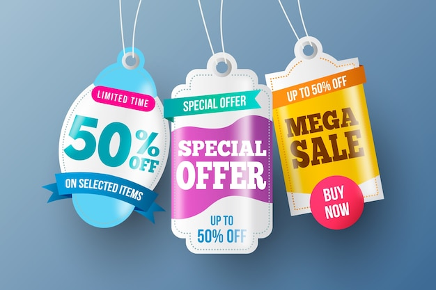 Diseño realista de colección de etiquetas de ventas colgantes
