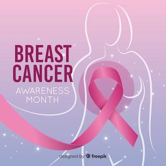 Diseño realista de concientización sobre el cáncer de mama