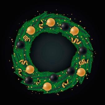Diseño realista de corona de navidad