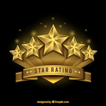 Diseño realista dorado de clasificación por estrellas