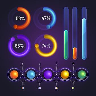 Diseño realista de elementos de infografía
