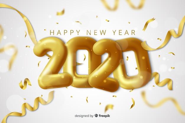 Diseño realista para el evento de año nuevo 2020.