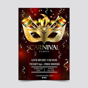 Diseño realista de flyer y póster de fiesta de carnaval