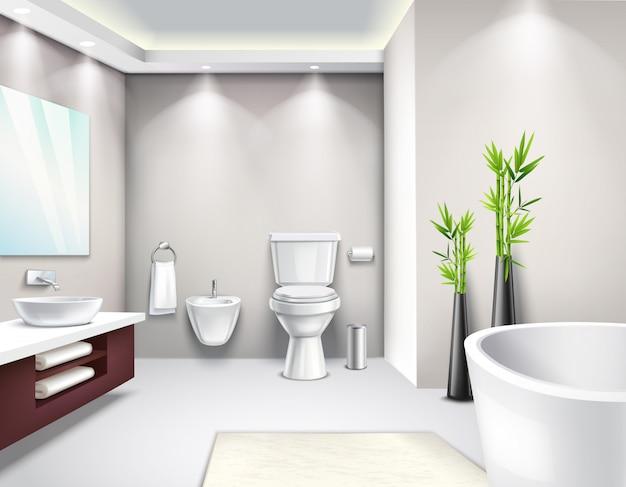 Diseño realista interior de baño de lujo