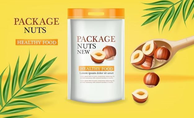 Diseño realista de maquetas de paquete de nueces