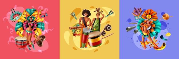Diseño realista con músicos y bailarines disfrazados del carnaval de brasil.