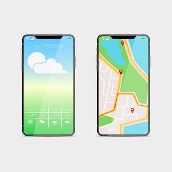 Diseño realista para el nuevo modelo de teléfono inteligente con aplicación de mapas.