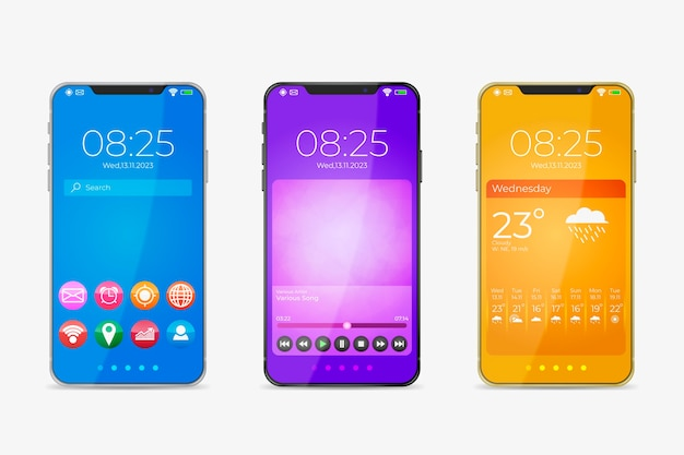 Diseño realista para el nuevo modelo de teléfono inteligente con aplicaciones.