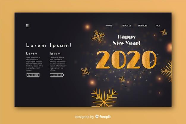 Diseño realista de página de aterrizaje de feliz año nuevo