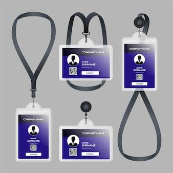 Diseño realista de papelería de tarjeta de identificación.