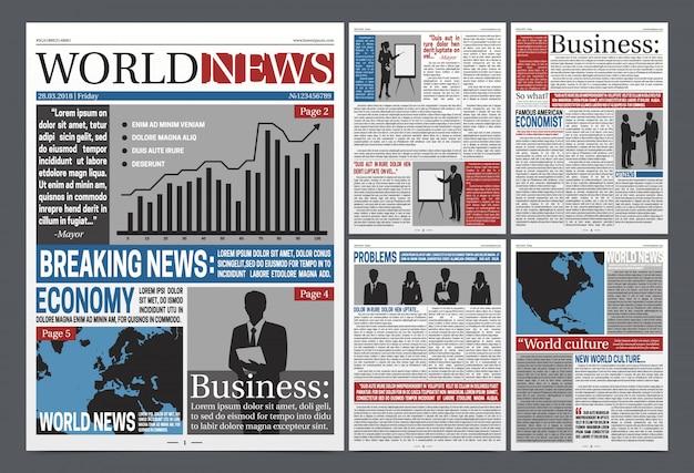 Diseño realista de la plantilla de las páginas de la economía del periódico con los diagramas de las noticias de negocio del mundo siluetea la ilustración del vector de las siluetas negras de los hombres de negocios