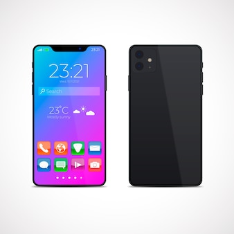 Diseño realista para smartphone modelo 11 con aplicaciones.