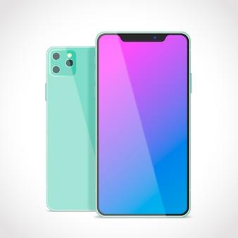 Diseño realista para smartphone verde con tres cámaras.