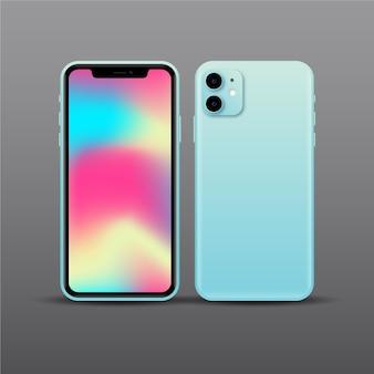 Diseño realista de teléfono inteligente azul con dos cámaras