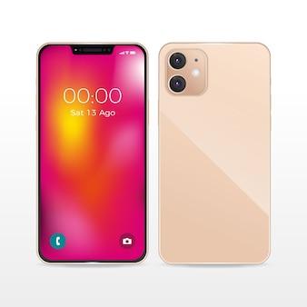 Diseño realista de teléfono inteligente rosa con dos cámaras