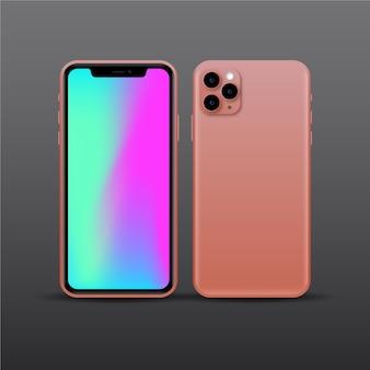 Diseño realista de teléfono inteligente rosa con tres cámaras