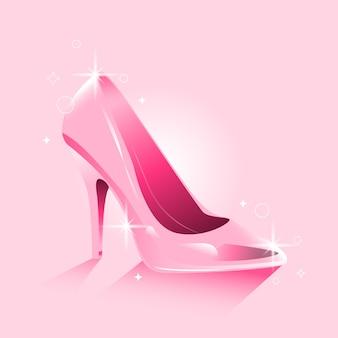 Diseño realista de zapato de cristal de cenicienta