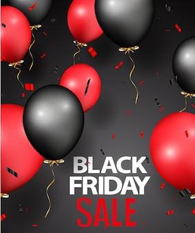 Diseño de rebajas de viernes negro con globos y confeti.