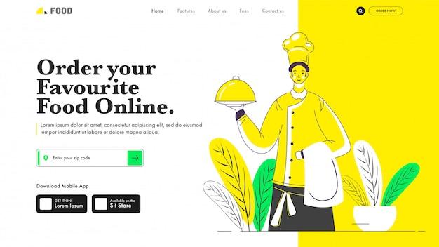 Diseño receptivo de la página de aterrizaje con el chef sosteniendo cloche para ordenar su comida favorita en línea.