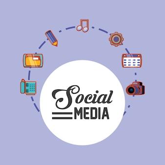 Diseño de redes sociales con iconos relacionados alrededor