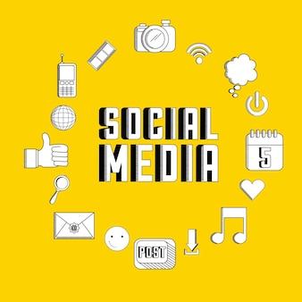 Diseño de redes sociales, ilustración vectorial gráfico eps10