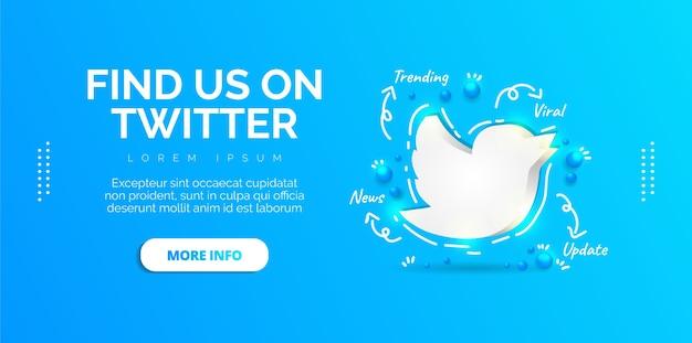 Diseño de redes sociales de twitter con banner azul