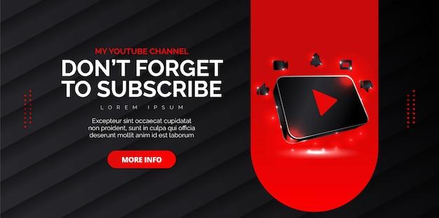 Diseño de redes sociales de youtube con fondo negro