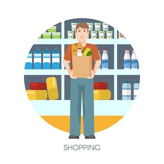 Diseño redondo de compras