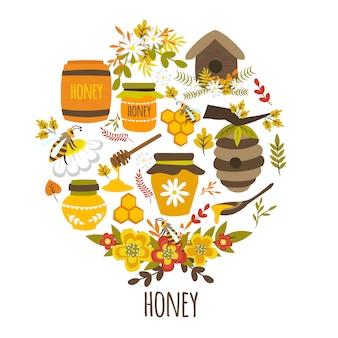 Diseño redondo dibujado a mano de miel