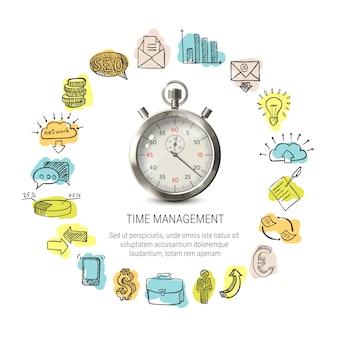 Diseño redondo de gestión del tiempo