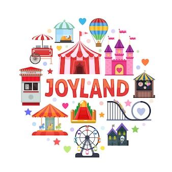 Diseño redondo del parque de atracciones con taquilla de atracciones, carpa de circo, comida callejera