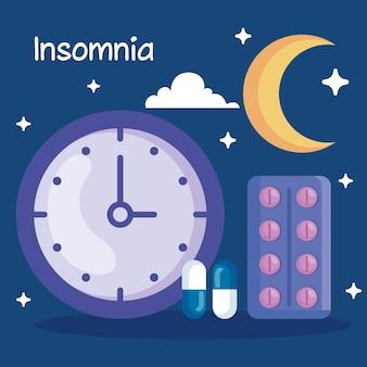 Diseño de reloj y píldoras de insomnio, tema de sueño y noche