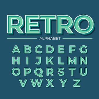 Diseño retro 3d para alfabeto