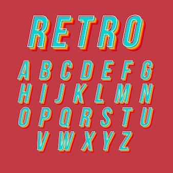 Diseño retro con alfabeto