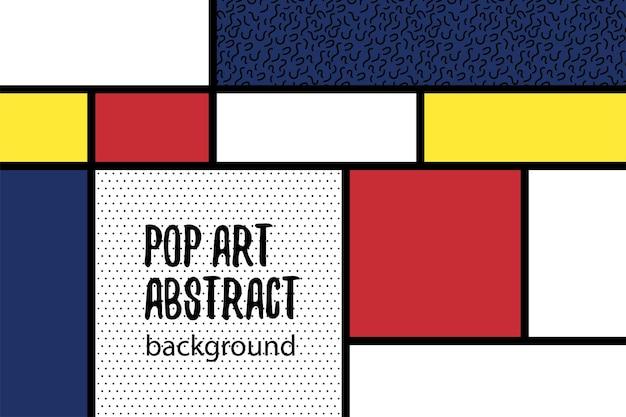 Diseño retro del arte del hogar del fondo geométrico azul amarillo rojo de mondrian