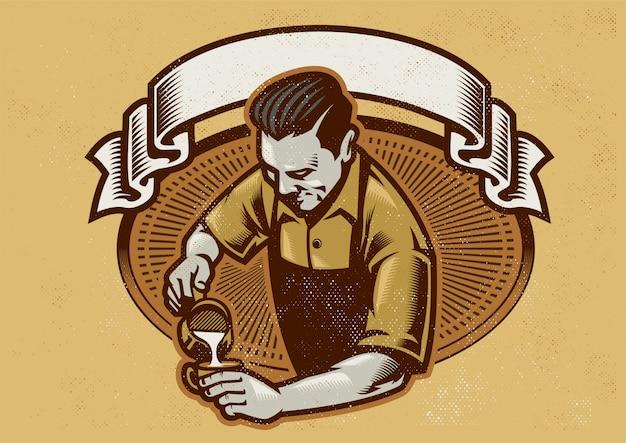 Diseño retro barista haciendo el arte latte