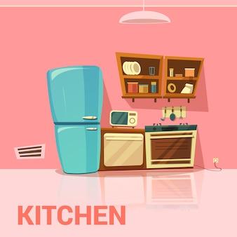 Diseño retro de cocina con nevera, horno de microondas y dibujos animados de cocina