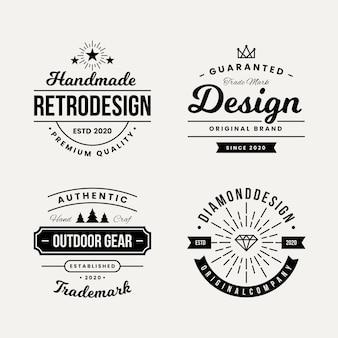 Diseño retro para colección de logotipos.