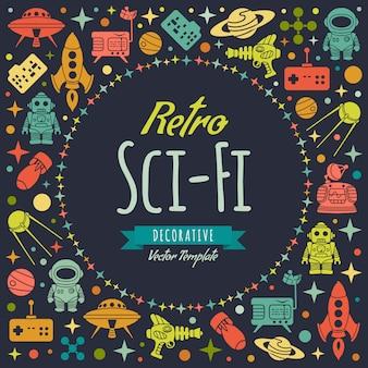 Diseño retro de decoración de vectores de ciencia ficción