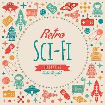 Diseño retro decorado de ciencia ficción.