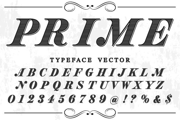 Diseño retro de la etiqueta del alfabeto prime
